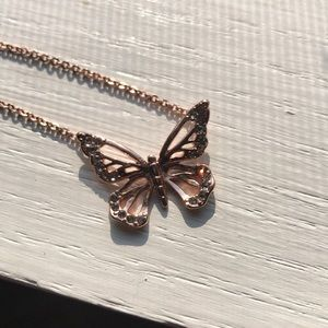 Rose gold fossil butterfly necklace
